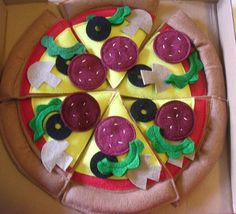 Fun Felt Foods Whole Pizza with Box by FunFeltFoods on Etsy
