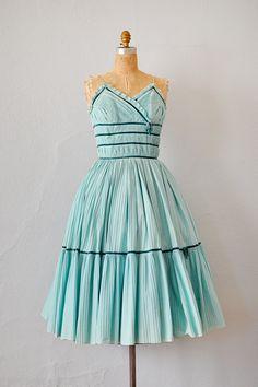 vintage 1950s seafoam blue pleated party dress with velvet