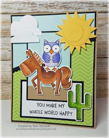 """airbornewife's stamping spot: TupeloDesignsLLC DT card project """"YOU MAKE MY WHOLE WORLD HAPPY"""" using MFT Critter Clan"""