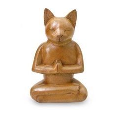 NOVICA Wood Cat Sculpture from Indonesia ($39) ❤ liked on Polyvore featuring home, home decor, fillers, animals, cat, decor, sculpture, dogs & cats, brown and art gallery