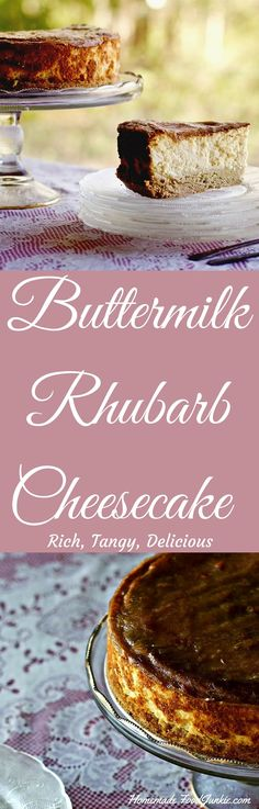 Buttermilk Rhubarb Cheesecake rich, tangy, delicious http://HomemadeFoodJunkie.com