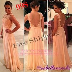 Vestidos de Chiffon Free Shipping Nude Back Long Formal Evening Dresses Lace 2014 new arrival Special Occasion Dresses for Party