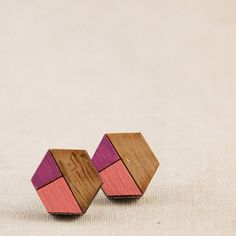 Geometric Hexagon Earrings / Tiny Wooden Studs / by villadesign