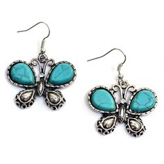 TURQUOISE AND SILVER TONE BUTTERFLY SHAPED EARRINGS