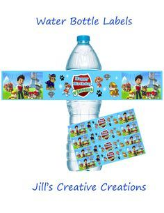 Paw Patrol water bottle labels