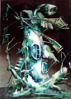 Zöld erőmű; 70x50cm, vegyestechnika/poli-metakrilát