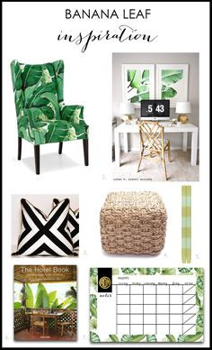 Leaf Home Decor Ideas for a Modern Fresh Look! Banana Leaf Inspiration by A Blissful NestBanana Leaf Inspiration by A Blissful Nest Tropical Bedrooms, Tropical Home Decor, Tropical Interior, Tropical Houses, Tropical Colors, Tropical Furniture, Tropical Leaves, Interior Exterior, Interior Design