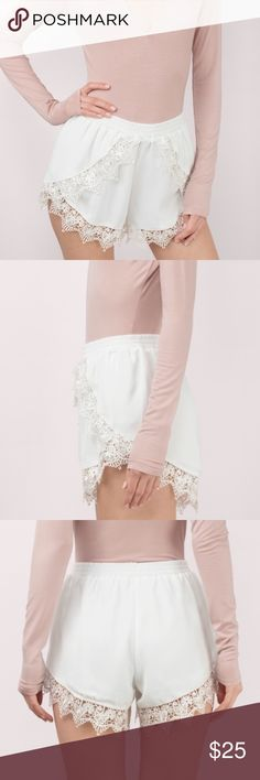 Cream Floral Lace Crochet Shorts Cream Floral lace crochet shorts from Tobi! Flattering fit. Loose and flowy. Can dress up or down. Brand new with tags! Tobi Shorts