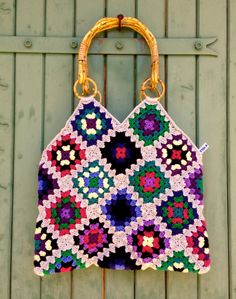 crochet granny square & denim bag with bamboo handles by hooknhula, $102.00