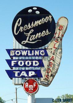 Cressmoor Lanes Bowling Neon Sign - Hobart, Indiana - by randomroadside
