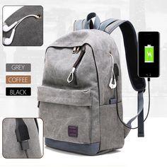 20-35L USB Canvas Backpack Travel Notebook Laptop School Bag Rucksack