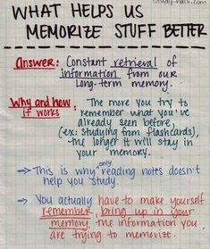 The reason why flashcards are a great way to memorize concepts and terms is because when you study with them, you make your brain work hard to retrieve information from your memory.The more you do this, the better it stays in your long-term memory. This is also the reason why simply reading over your notes a thousand times won't help you study. Because you're not working hard to retrieve any information, the info is not consolidated in long-term memory and stays in your working memory (5…
