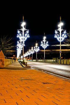 Christmas lights on Berwick's Royal Border Bridge