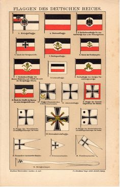 German Empire Flags 1908 Antique Print Deutsches by Craftissimo, €9.95