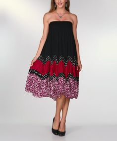 Look what I found on #zulily! Black & Red Leopard Dot Strapless Midi Dress by Ananda's Collection #zulilyfinds