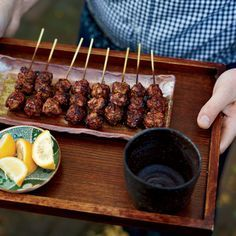Chicken-Meatball Yakitori: Sylvan Mishima Brackett makes these meatballs, known as tsukune, with hand-chopped meat and skin from the best pastured chicken he can get. Wine Recipes, Asian Recipes, Great Recipes, Cooking Recipes, Favorite Recipes, Budget Recipes, Cooking Games, Grilling Recipes, Best Meatballs