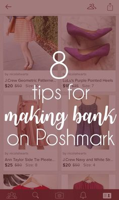 bank-making tips for Poshmark sellers want to sell your clothes successfully? check out these 8 tips for making money on Poshmark!want to sell your clothes successfully? check out these 8 tips for making money on Poshmark! Swag, Pointed Heels, Selling On Poshmark, How To Sell On Poshmark, How To Pose, Selling Online, Online Sales, Models, Wellness Tips