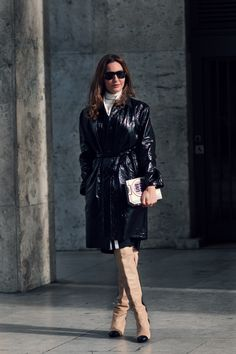that Lanvin trench is fairly amazing with her Chanel boots. #EceSukan in Paris.