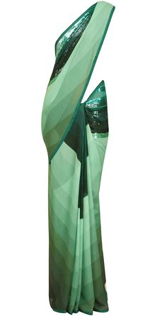 Aqua and sea green shaded and embellished sari by SATYAPAUL. Shop at https://www.perniaspopupshop.com/whats-new/satyapaul-6