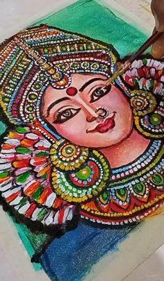 Durga Painting, Fabric Painting, Captain Hat, Dancer, Canvas, Hats, Mandalas, Painting On Fabric, Tela