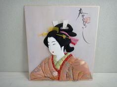 Japanese Padded Cloth Picture Chitose Ryu Oshie Beautiful Woman Kimono Washi | eBay