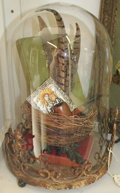 Dome with Vintage Items- White Horse Relics