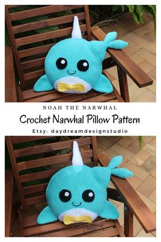 Meet Noah the Narwhal pillow. He is a sweet and energetic crochet narwhal that loves to be kept in a nursery room or kids bedroom. Crochet Whale, Crochet Pillow Pattern, Pillow Patterns, Crochet Hooks, Crochet Baby, Crochet Patterns, Half Double Crochet, Single Crochet, Nursery Room