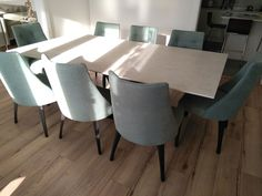 Fixed version of Victoria table in Lunar Dekton and Moka matt legs. Available in other sizes and configurations. FLORIDA dining chairs in Comfy Sage and Moka matt legs. Delivered to our client in Epsom. Contemporary Furniture, Contemporary Design, Dining Chairs, Dining Table, Leather Bed, Moka, Sofa Design, Modern Bedroom, Sideboard