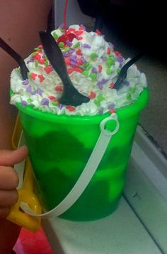 Ice Cream in a Sand Pail Bucket at Blizzard Beach! Perfect Water Park Treat Follow us at http://www.facebook.com/takingthefloridaplunge