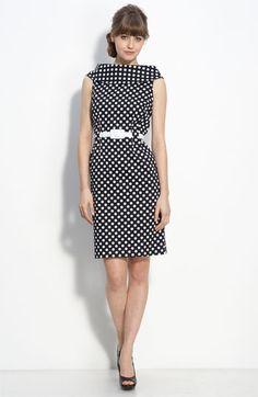 Tahari by Arthur S. Levine Black Polka Dot Woven Sheath Dress with white dots. Dot Dress, Dress Skirt, Dots Fashion, Fashion Shoes, Girl Fashion, Beautiful Outfits, Cute Outfits, Mode Style, Nordstrom Dresses