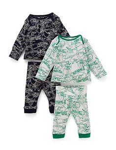 2 Pack Dinosaur Doodle Pyjamas   M&S