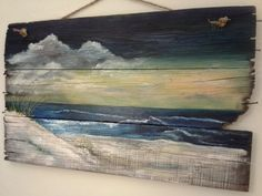 Original+ocean+seascape+painting+on+Reclaimed+Wood+Shabby+Beach+Cottage+Primitive+Folk+Art+wallhanging+wall+decor