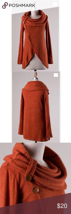 💥SALE💥 Rust Cowl Neck Top 🔸Long sleeve, cowl neck with button and strap detail, tulip hem, brushed knit top. 🔸68% Angora 17%Nylon 15% Polyester 🔸Made in USA  ✔️Serious buyers please & No Low ballers!  To me it's asking half or more off an item is Low Balling.   ✔️Please understand the sizes listed on the size chart are different between manufacturers & suppliers & this chart should only be used as an approximate guide. Amor Adore Tops Blouses