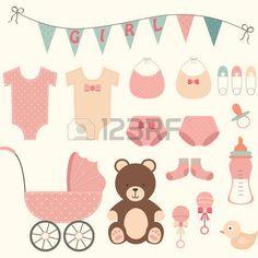 tarjetas baby shower niña: Ducha de la niña Vectores