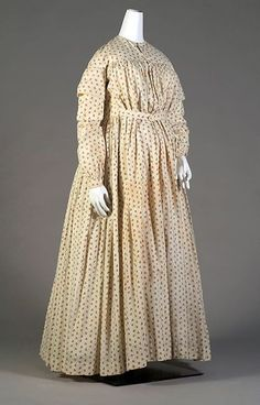 Late 1840s, America - Maternity dress of printed cotton