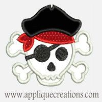 Pirate Skull...Embroidery Applique Design...Three sizes for multiple hoops...Item1495.. $3.50, via Etsy.