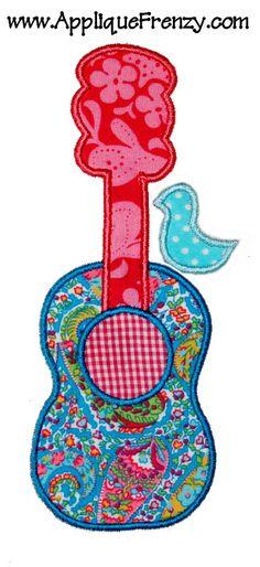 girly guitar applique with bird