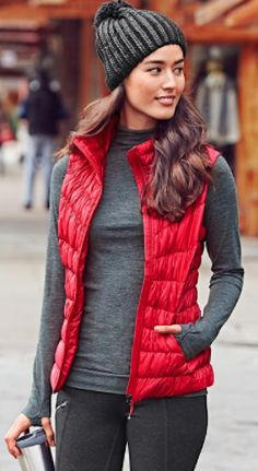 love this red down puffer vest