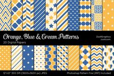 Orange, Blue & Cream Digital Papers Graphics Orange, Blue And Cream Patterns include 20 seamless (tileable) patterns (dots, chevron, stripes, sta by ZoollGraphics