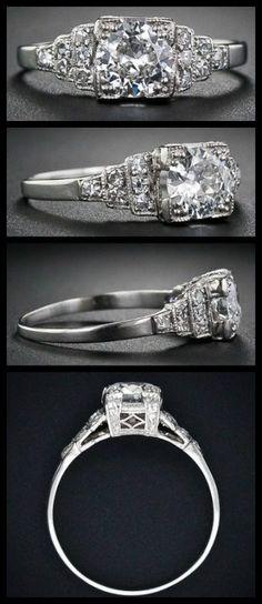 Art Deco diamond ring with a European-cut diamond, weighing .60 carats, circa 1930s. Via Diamonds in the Library.