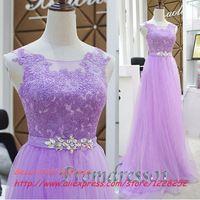 Free Shipping Cheap Lavender Lace Prom Dresses A-Line Floor-Length EmpireTulle Vestido De Festa