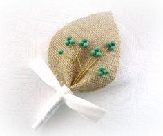 Teal Twigs for your Honey Blue Wedding Men Accessories, Groom's Boutonniere, Pin, Linen Groomsman, Country Weddings, Burlap Shabby Chic
