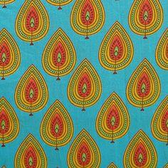 Indian hand printed cotton fabric - yellow and orange leaf print on teal - 1 yard - ctjp052