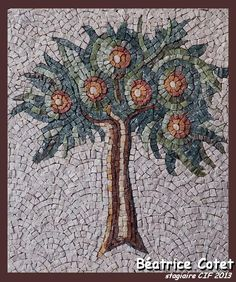 Tree Marble Art, Marble Mosaic, Stone Mosaic, Mosaic Tiles, Mosaic Garden Art, Mosaic Wall Art, Mosaic Stepping Stones, Mosaic Flowers, Roman Art