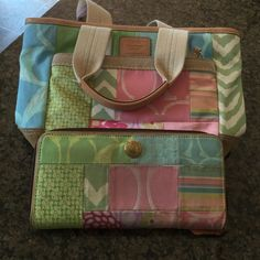 Authentic Coach purse Authentic canvas Coach purse with matching wallet. This set has been pre-loved, but the canvas should clean up ok. Purse measures 71/2 x 11'. Wallet has 3 pockets. No dust bag. Smoke free home Bags Mini Bags
