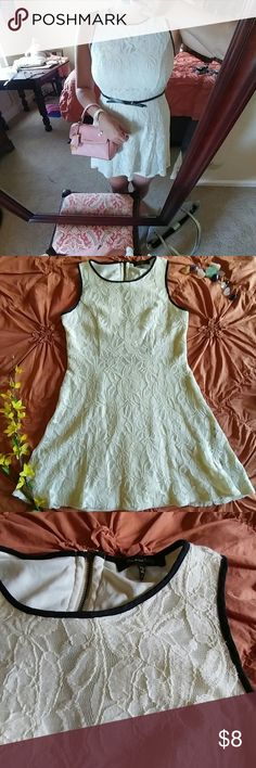 """🔴SALE🔴 Lovely Lace Dress! Preloved off white/cream lace dress with lining and black piping. Cute and feminine dress perfect for the summer!   Size small Top-to-bottom: 28 3/4"""" Armpit-to-armpit: 15 1/2"""" 65% cotton; 35% nylon Belt not included   Dresses"""