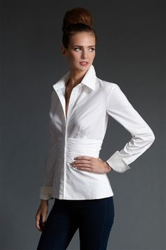 """Long Sleeve, classic white button down with waist detail.  """"Marlon"""" #FinleyShirts f13 #MadeinUSA  Click on the photo to find a store near you."""
