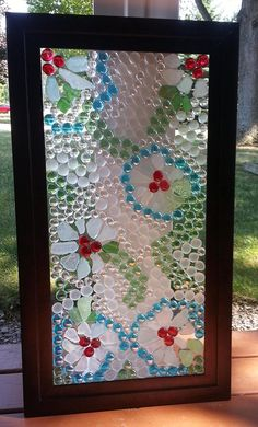 Beach Glass Flower Panel