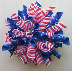 Korker Hair bow Red White blue 4th of July by RoxArtCreations