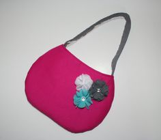 Little Girl Purse Pink with Blue, White, and Gray Flowers